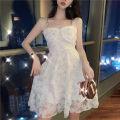 Dress Summer 2020 white S, M Short skirt singleton  Sleeveless commute V-neck High waist Princess Dress camisole Type A Retro Bright silk, inlaid with diamond