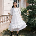 Dress Summer 2020 White spot, white order M, S longuette Two piece set Short sleeve street Doll Collar Loose waist Solid color Socket Ruffle Skirt puff sleeve Others 18-24 years old Type X Lace, flounce, Gouhua hollow, gauze net, Auricularia auricula 31% (inclusive) - 50% (inclusive) other cotton