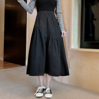 skirt Spring 2021 Average size Khaki, black, white, khaki 93, black 93 Mid length dress commute High waist Umbrella skirt Solid color Type A 31% (inclusive) - 50% (inclusive) other other fold Korean version