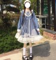 Dress Summer 2021 Blue long sleeve, black long sleeve Average size Middle-skirt singleton  Long sleeves Sweet Admiral High waist Solid color Socket Ruffle Skirt routine 18-24 years old Type A solar system