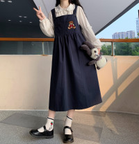 Dress Autumn 2020 A white shirt with a skirt Average size Mid length dress Two piece set Long sleeves Sweet Doll Collar High waist 18-24 years old college