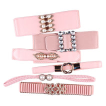 Belt / belt / chain Pu (artificial leather) female Waistband Versatile Single loop Middle age, youth, youth a hook Diamond inlay Glossy surface 5.8cm alloy Other / other G415