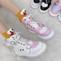 Low top shoes 35,36,37,38,39,40 Other / other Black, pink Round head PU Flat bottom Low heel (1-3cm) Deep mouth cloth Autumn 2020 Frenulum leisure time Injection pressure shoes Youth (18-40 years old) Color matching plastic cement Single shoes PU Face dressing