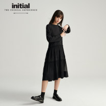 Dress Autumn 2020 BLK S M L XL Mid length dress singleton  Long sleeves commute Crew neck High waist Solid color Socket A-line skirt routine Others 25-29 years old Type A Initial Simplicity Lace 20FDNFVCXX850 71% (inclusive) - 80% (inclusive) other cotton Cotton 75% polyester 25%