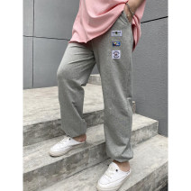 Women's large Spring 2021 Black, gray Large XL, large 2XL, large 3XL, large 4XL, large 5XL trousers singleton  commute moderate Solid color Korean version cotton Xin Cun Zhen 25-29 years old trousers