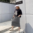Women's large Summer 2021 black Large XL, large 2XL, large 3XL, large 4XL, large 5XL skirt singleton  commute moderate Solid color, letter Korean version Polyester, others Xin Cun Zhen 25-29 years old 91% (inclusive) - 95% (inclusive) Medium length