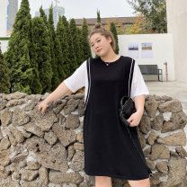 Women's large Summer 2021 black Big average, small average Dress Fake two pieces commute moderate Socket elbow sleeve Solid color Korean version Crew neck other routine Xin Cun Zhen 25-29 years old Medium length