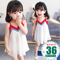 Dress female Other / other Other 100% summer princess Skirt / vest Solid color cotton Lotus leaf edge 12 months, 18 months, 2 years old, 3 years old, 4 years old, 5 years old, 6 years old Chinese Mainland