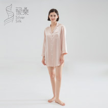 Nightdress Silver mulberry Deep sea blue tea white fragrant taro purple hard sugar powder S M L XL luxurious Long sleeves pajamas Short skirt Solid color Small lapel silk More than 95% 22 mm heavy silk Autumn 2020 Mulberry silk 100% Same model in shopping mall (sold online and offline)