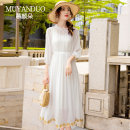 Dress Summer 2021 white S M L XL XXL XXXL 4XL Mid length dress Two piece set three quarter sleeve commute Crew neck Loose waist Solid color Socket A-line skirt other Others 30-34 years old Type A Mu yanduo literature MYD-MM62 More than 95% silk Mulberry silk 100% Pure e-commerce (online only)