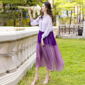 Dress Summer 2021 violet S M L XL XXL XXXL 4XL Mid length dress Two piece set Long sleeves commute V-neck Loose waist Socket A-line skirt other Others 35-39 years old Type A Mu yanduo literature MYD-MM51 More than 95% silk Mulberry silk 100% Pure e-commerce (online only)