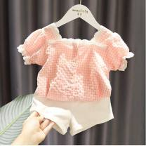 suit Other / other White, pink 80cm,90cm,100cm,110cm,120cm,130cm female summer fresh Short sleeve + pants 2 pieces Thin money No model Socket nothing lattice cotton children Expression of love Cotton 85% hemp 15% Chinese Mainland