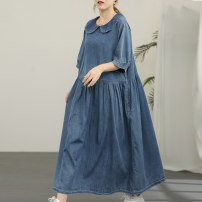 Dress Summer 2021 blue Average size longuette singleton  Short sleeve commute Doll Collar Loose waist Solid color Socket Big swing routine Others Type A Green cotton literature Fold, splice More than 95% Denim cotton