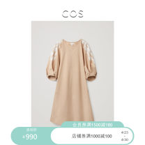 Dress Summer 2021 Beige / white 165/88A 170/92A 160/76A 160/80A 165/84A 170/96A Short skirt singleton  elbow sleeve commute Crew neck Loose waist A-line skirt puff sleeve 30-34 years old Type A COS Simplicity More than 95% cotton Cotton 100% Same model in shopping mall (sold online and offline)