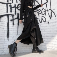 skirt Summer 2020 Average size black Mid length dress Retro Natural waist A-line skirt Solid color Type A 18-24 years old More than 95% brocade Huiniu other Other 100%