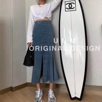 skirt Autumn 2020 S,M,L Blue, black Mid length dress Versatile High waist Denim skirt Solid color 18-24 years old 81% (inclusive) - 90% (inclusive) Denim