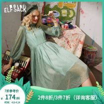 Dress Summer 2020 Cloud green S M L XL Short skirt singleton  Short sleeve commute other middle-waisted Socket A-line skirt routine 18-24 years old Type A Goblin's pocket literature Frenulum P1020_ AL0373 More than 95% polyester fiber Polyester 100%