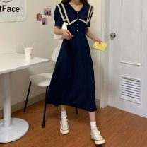 Dress Summer 2021 High quality Navy, high quality pink Average size Mid length dress singleton  Short sleeve commute Admiral High waist Solid color Single breasted A-line skirt puff sleeve Others 18-24 years old Type A Korean version Lace 31% (inclusive) - 50% (inclusive)