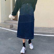 skirt Spring 2021 S,M,L Premium blue, premium black Mid length dress commute High waist A-line skirt Solid color Type A 18-24 years old 31% (inclusive) - 50% (inclusive) pocket Korean version