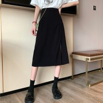 skirt Summer 2020 S,M,L Apricot, black Mid length dress commute High waist A-line skirt Solid color Type A 18-24 years old 81% (inclusive) - 90% (inclusive) Korean version