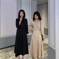 Dress Spring 2021 Khaki, black Average size longuette singleton  Long sleeves commute Polo collar High waist Solid color Socket A-line skirt routine 18-24 years old Type A Other / other Korean version Button 31% (inclusive) - 50% (inclusive) polyester fiber