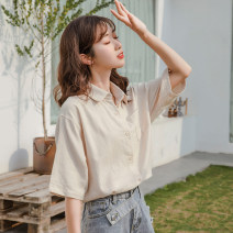 shirt Apricot, apricot long sleeves S,M,L Summer 2020 other 81% (inclusive) - 90% (inclusive) Short sleeve Versatile Regular Polo collar Single row multi button routine Solid color 18-24 years old Self cultivation Button, pocket