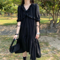 Dress Summer 2021 Premium black Average size Middle-skirt singleton  Short sleeve commute V-neck Loose waist Solid color Socket Cake skirt puff sleeve Others 18-24 years old Korean version Lace up, Ruffle 31% (inclusive) - 50% (inclusive) cotton