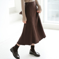 skirt Autumn 2020 Average size Brown, black Mid length dress commute High waist A-line skirt Solid color Type A 18-24 years old 31% (inclusive) - 50% (inclusive) Other / other Korean version