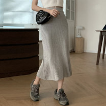 skirt Spring 2021 Average size Apricot, grey, black, pink, coffee Mid length dress Versatile High waist skirt Solid color Type A 18-24 years old 31% (inclusive) - 50% (inclusive) Other / other Lotus leaf edge