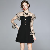 Dress Autumn 2020 Graph color S,M,L,XL,2XL Short skirt singleton  Long sleeves commute Lotus leaf collar middle-waisted other zipper Princess Dress pagoda sleeve Others 18-24 years old Type X Other / other other other