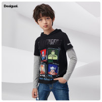 T-shirt black Desigual 120/6 130/8 140/10 150/12 160/14 male Long sleeves No detachable cap Cotton blended fabric other Cotton 96% polyester 4% 19WBTKX2 Five, six, seven, eight, nine, ten, eleven, twelve