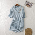 Dress Spring 2020 Denim light blue S,M,L Mid length dress singleton  elbow sleeve commute V-neck Solid color other routine Others 18-24 years old Type H Other / other Simplicity 81% (inclusive) - 90% (inclusive) other