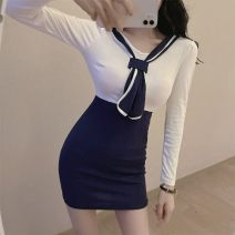 Dress Winter 2020 White and blue S,M,L Short skirt singleton  Long sleeves commute other High waist Solid color Socket One pace skirt routine Others 18-24 years old Type A Korean version Splicing, three-dimensional decoration A1203 71% (inclusive) - 80% (inclusive) cotton