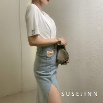 skirt Summer 2021 S,M,L Black, wash blue Mid length dress Versatile High waist skirt Solid color Type A 31% (inclusive) - 50% (inclusive) Denim Tagkita / she and others cotton 401g / m ^ 2 (inclusive) - 500g / m ^ 2 (inclusive)