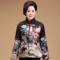 Middle aged and old women's wear Autumn of 2018 Flowers and birds green yellow black red XL [recommended weight 90-115 kg] XXL [recommended weight 115-125 kg] 3XL [recommended weight 125-140 kg] 4XL [recommended weight 140-165 kg] Happiness Cotton easy singleton  Flower and bird pattern Cardigan silk