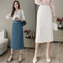skirt Summer 2021 S M L XL Blue black apricot Mid length dress commute High waist skirt Solid color Type H 25-29 years old More than 95% other Ding Yali other Korean version Other 100% Pure e-commerce (online only)