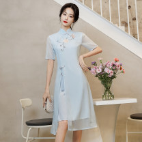 Dress Summer 2021 Light blue, pink S,M,L,XL,2XL,3XL,4XL,5XL Mid length dress singleton  Short sleeve commute stand collar middle-waisted Solid color zipper A-line skirt routine 25-29 years old Type A literature 81% (inclusive) - 90% (inclusive) Chiffon polyester fiber