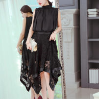 Dress Spring 2020 black S,M,L,XL,2XL Mid length dress singleton  Sleeveless commute High collar Elastic waist Solid color Socket Irregular skirt other Others 25-29 years old Type X If extraordinary Korean version Pleating, pleating, stitching, asymmetry, lace 91% (inclusive) - 95% (inclusive) Chiffon