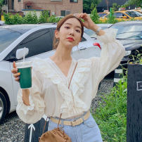 shirt Yellow Beige Average size Autumn 2020 cotton 96% and above Long sleeves Regular V-neck Socket pagoda sleeve Solid color Other / other Lotus leaf edge
