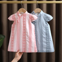 cheongsam 90,100,110,120,130 Pink, light blue Cotton 95% other 5% Dr. Black  No model summer Broken flowers Class A 2021-4.10-B005 12 months, 9 months, 18 months, 2 years old, 3 years old, 4 years old, 5 years old, 6 years old, 7 years old Chinese Mainland