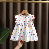 Dress Picture color female Dr. Black  90cm,100cm,110cm,120cm,130cm Cotton 95% other 5% summer Korean version Short sleeve love cotton other 2021-4.2-B005 Class A 12 months, 9 months, 18 months, 2 years old, 3 years old, 4 years old, 5 years old, 6 years old, 7 years old Chinese Mainland