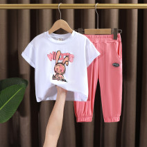 suit Dr. Black  White, dark grey 90cm,100cm,110cm,120cm,130cm female summer leisure time Short sleeve + pants 2 pieces Thin money No model Socket nothing Cartoon animation cotton children Expression of love 2021.5.12B01 Class A Cotton 100% Chinese Mainland Huzhou City Zhejiang Province
