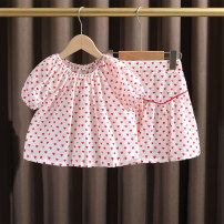 suit Dr. Black  female summer leisure time Short sleeve + skirt 2 pieces Thin money No model Condom nothing heart-shaped cotton Expression of love 2021.5.12B08 Class A Cotton 95% other 5% 12 months, 9 months, 18 months, 2 years old, 3 years old, 4 years old, 5 years old, 6 years old, 7 years old
