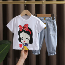 suit Dr. Black  White, pink 80cm,90cm,100cm,110cm,120cm,130cm female summer leisure time Short sleeve + pants 2 pieces Thin money No model Socket nothing Cartoon animation cotton children Expression of love 2021-4.2-B010 Class A Cotton 95% polyurethane elastic fiber (spandex) 5% Chinese Mainland