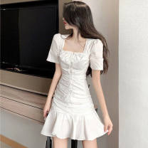 Dress Summer 2021 White, 88 white S,M,L,XL,2XL Middle-skirt singleton  Short sleeve commute One word collar other routine camisole 18-24 years old Type A Korean version 51% (inclusive) - 70% (inclusive) other cotton