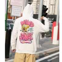 Sweater Youth fashion hm eleven white S,M,L,XL,XS Cartoon animation Socket Plush Hood autumn easy leisure time youth tide routine Fleece  cotton printing washing More than 95% Kangaroo pocket