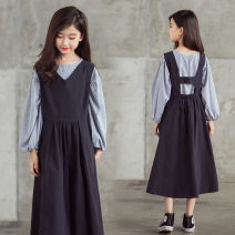 Dress Sapphire blue, Korean version, larger, size by height female Han Beibei 120cm,130cm,140cm,150cm,160cm,170cm Cotton 95% other 5% spring and autumn Korean version Long sleeves Solid color Pure cotton (100% cotton content) A-line skirt Girls' dress in autumn Class B 7, 8, 9, 10, 11, 12, 13, 14