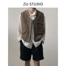 Vest / vest Fashion City ZING UP S,M,L Retro coffee, retro green, texture black Travel? easy Vest routine spring stand collar youth 2020 Japanese Retro P2015# Solid color Single breasted Cloth hem polyester fiber Multiple pockets nothing Three dimensional bag 90% (inclusive) - 95% (inclusive)
