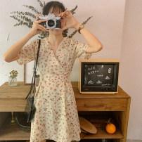Dress Summer 2021 Average size Short skirt singleton  Short sleeve V-neck High waist Broken flowers Socket 18-24 years old Type A Ruifenyue More than 95% Chiffon other Other 100%