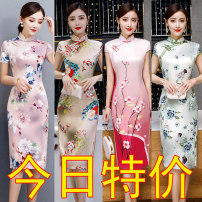 cheongsam Spring 2020 S,M,L,XL,XXL,XXXL,4XL Short sleeve long cheongsam ethnic style High slit daily Oblique lapel Decor Piping silk
